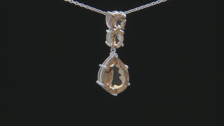 Brown Champagne Quartz Silver Pendant With Chain 8.61ctw