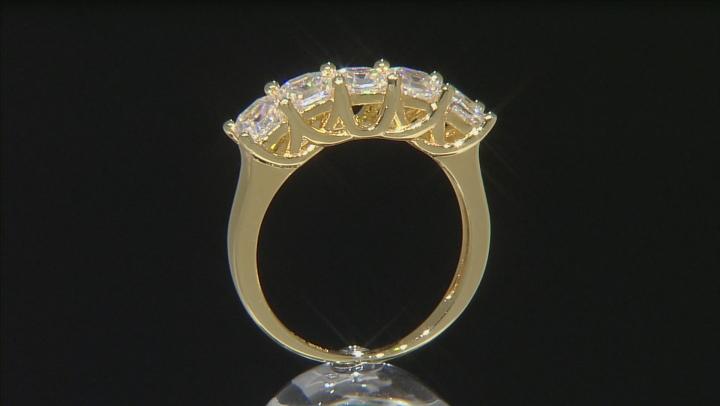 White Fabulite Strontium Titanate 18k gold over silver ring 2.12ctw