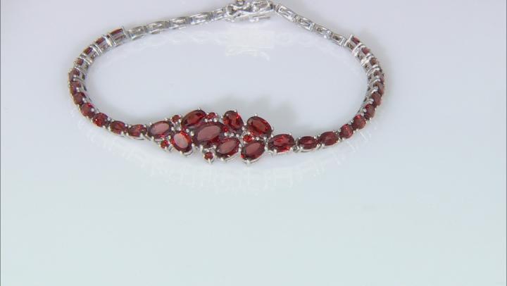 Red Garnet Rhodium Over Sterling Silver Bracelet 10.13ctw