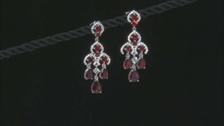 Red Garnet Silver Earrings 6.05ctw