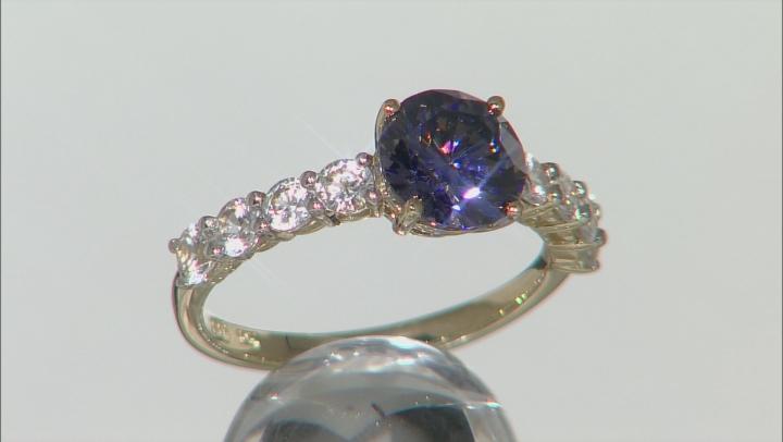 Purple Fabulite Strontium Titanate And White Zircon 10k White Gold Ring 3.75ctw