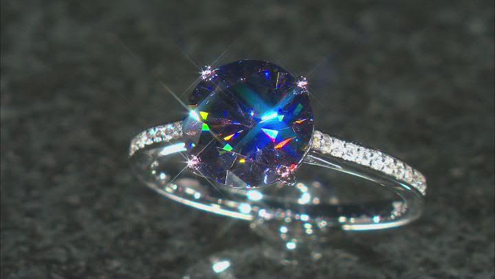 Purple Fabulite Strontium Titanate And White Zircon  10k White Gold Ring 3.85ctw