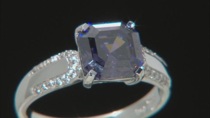 Purple Fabulite Strontium Titanate And White Zircon 10k White Gold Ring 3.64ctw