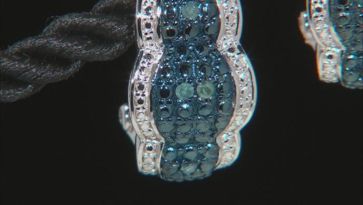 Blue Velvet Diamond ™ Rhodium Over S/S Earrings .12ctw