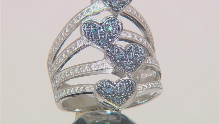Blue Velvet Diamond™ Rhodium over Sterling Silver Ring Diamond Accent