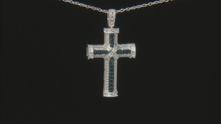 Blue Velvet Diamond™ Rhodium over Sterling Silver Pendant with Chain Diamond Accent