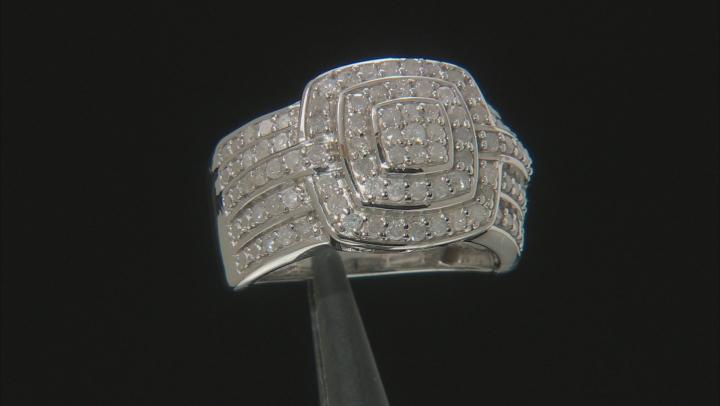 White Diamond Rhodium Over Sterling Silver Ring