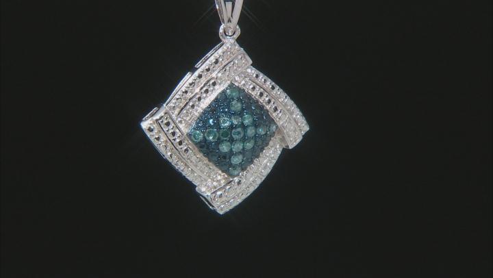Blue Diamond Rhodium Over Sterling Silver Pendant 0.25ctw