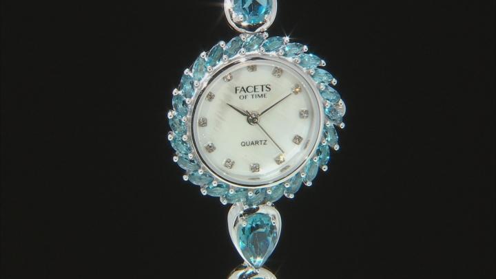 13.50ctw London Blue Topaz Mop Dial Sterling Silver Watch