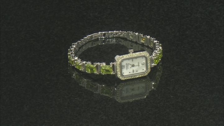 11.04ctw Green Peridot Mop Dial Sterling Silver Watch