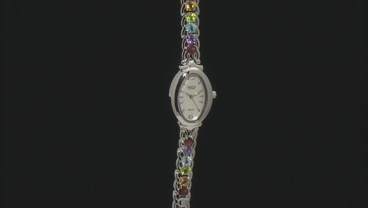 Multi-Gemstone Rhodium Over Brass Watch 6.01ctw