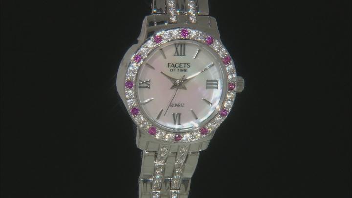 .48ctw round raspberry color rhodolite and 2.22ctw round white zircon sterling White watch
