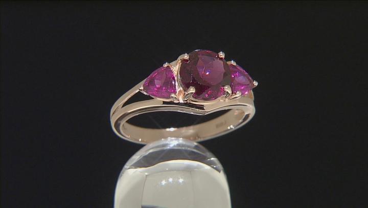 Grape Color Garnet 10k Rose Gold Ring 3.11ctw