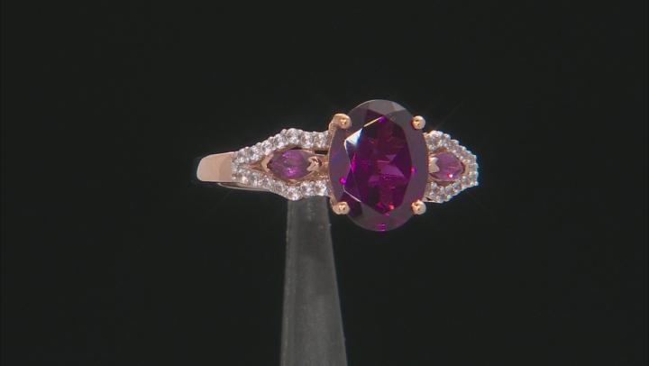 Grape Color Garnet 10k Rose Gold Ring 2.17ctw