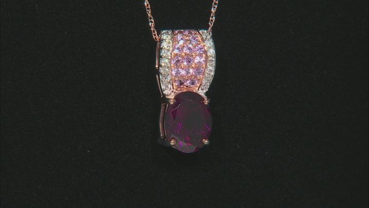 Grape Color Garnet 10k Rose Gold Pendant With Chain 2.10ctw