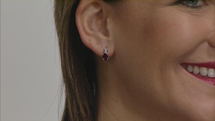 Grape Color Garnet 10k White Gold Earrings 1.68ctw