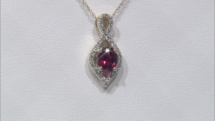Grape Color Garnet 10k Gold Pendant With Chain .91ctw