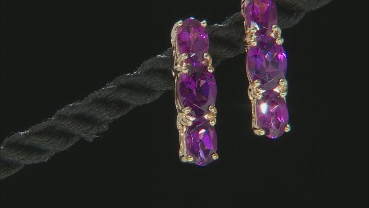 Grape Color Garnet 10k Yellow Gold Earrings 3.51ctw.