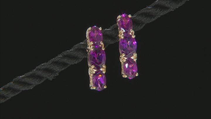Garpe Color Garnet 10k Yellow Gold Earrings 3.51ctw.