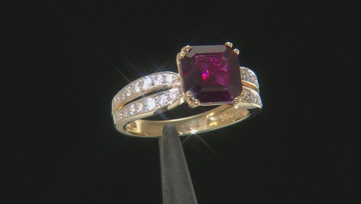 Grape Color Garnet 10k Yellow Gold Ring 2.94ctw