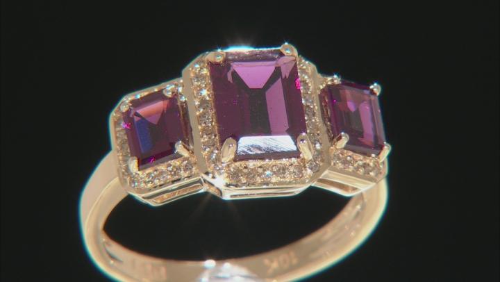Grape Color Garnet 10k Yellow Gold Ring 2.70ctw