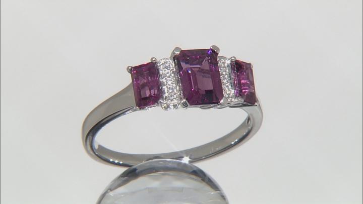 Grape Color Garnet 10k White Gold Ring 1.62ctw