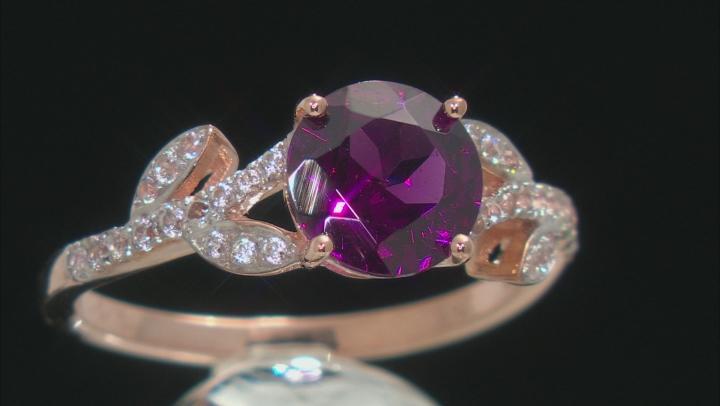 Grape Color Garnet 10k Rose Gold Ring 2.32ctw