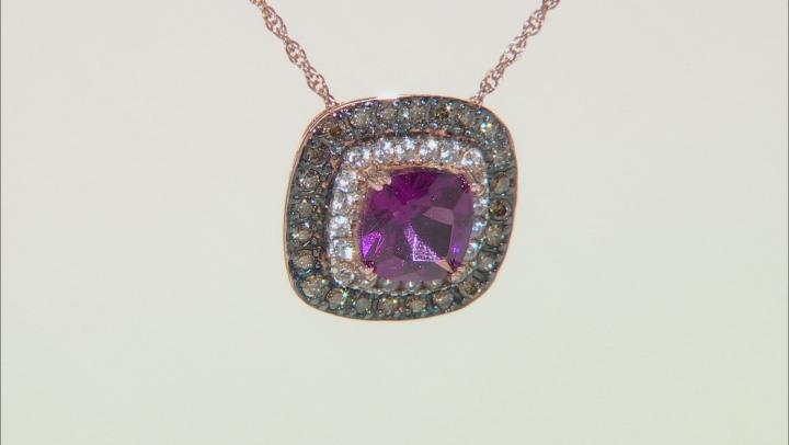 Grape color garnet pendant with chain 1.29ctw
