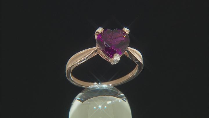 Grape Color Garnet 10k Rose Gold Ring 2.94ctw