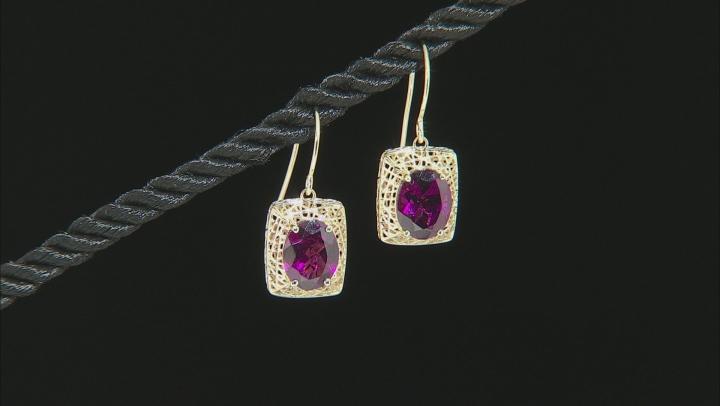 Grape Color Garnet 10k Yellow Gold Earrings 3.57ctw