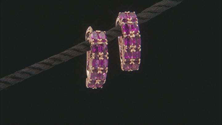 Grape Color Garnet 10k Yellow Gold Earrings 5.05ctw