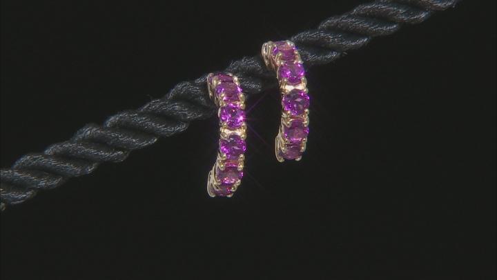 Grape Color Garnet 10k Yellow Gold Earrings 1.32ctw
