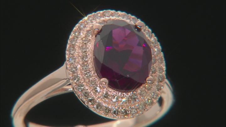Grape Color Garnet 10k Rose Gold Ring 1.90ctw