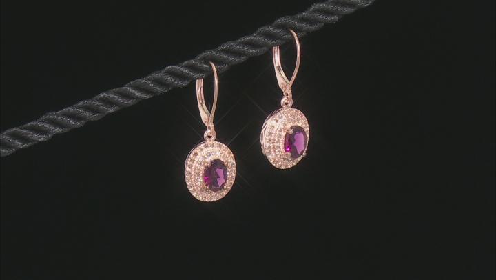 Grape Color Garnet 10k Rose Gold Earrings 1.98ctw