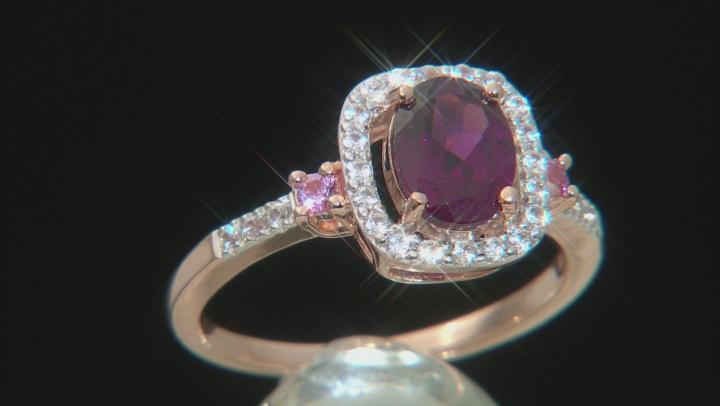 Grape Color Garnet 10k Rose Gold Ring 1.45ctw
