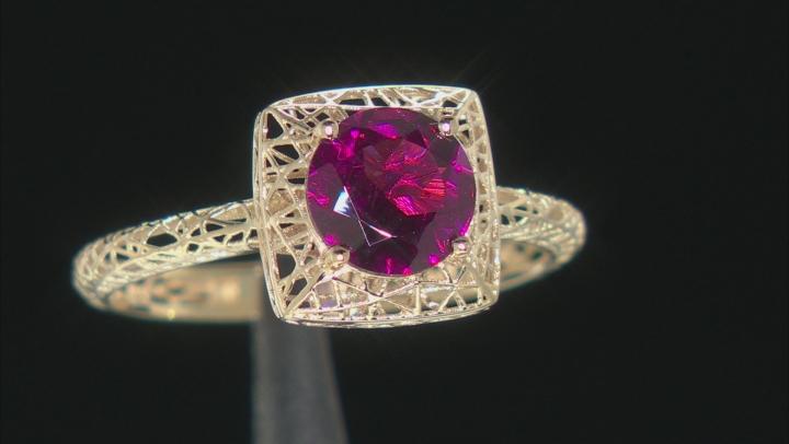 Purple Garnet 10k Yellow Gold Filigree Ring 1.31ct