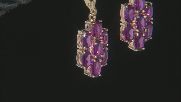 Grape Color Garnet 10k Yellow Gold Earrings 3.50