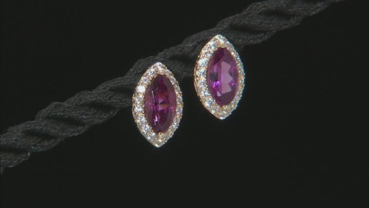 Grape Color Garnet 10k Yellow Gold Drop Earrings 1.47ctw