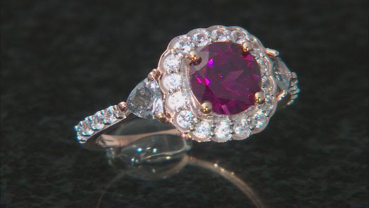 Grape Color Garnet 10k Rose Gold Ring 2.21ctw