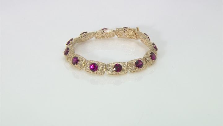 Grape Color Garnet 10k Yellow Gold Filigree Bracelet