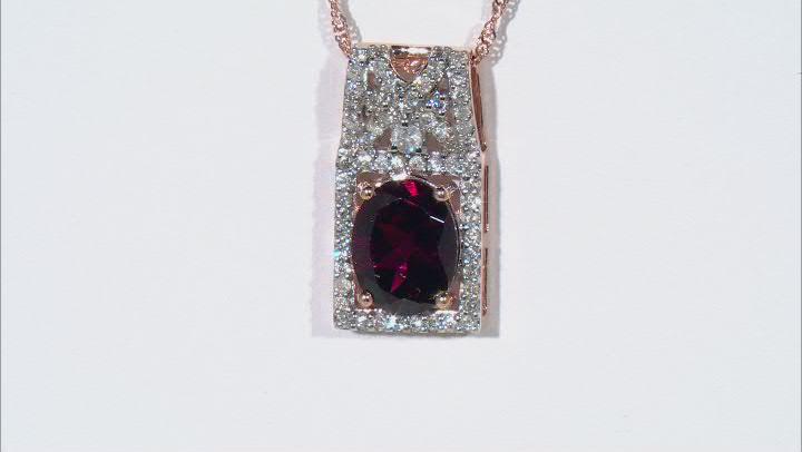 Grape Color Garnet 14k Rose Gold Pendant With Chain 2.42ctw