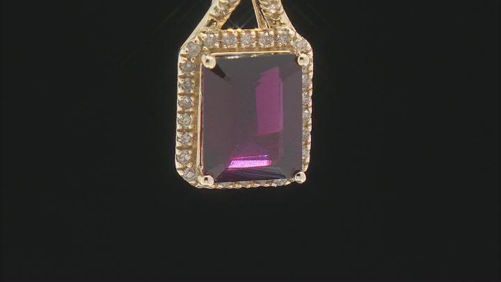 Purple Garnet 14k Yellow Gold Pendant With Chain 3.30ctw