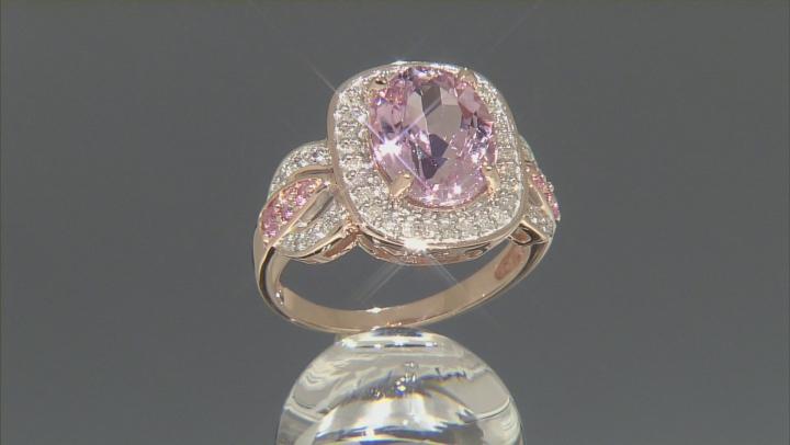 Pink Kunzite 10k Rose Gold Ring 4.14ctw.