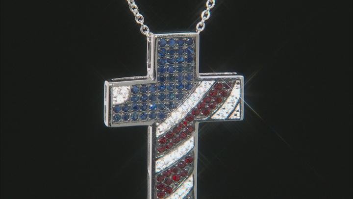 Blue sapphire rhodium over sterling silver cross pendant 1.91ctw