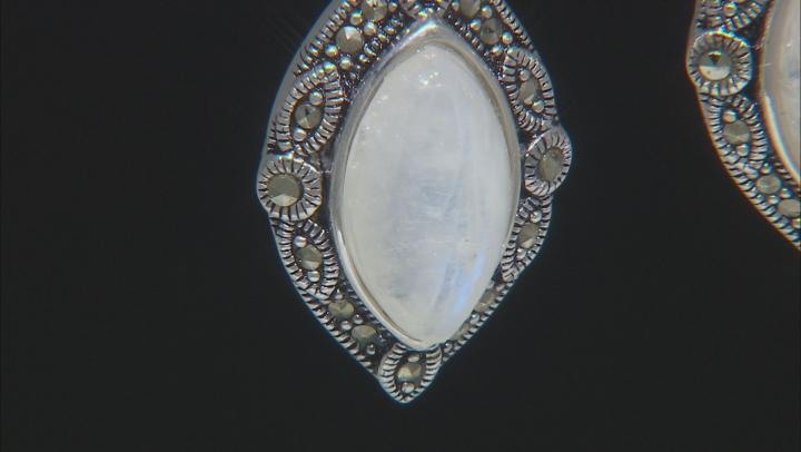 White rainbow moonstone earrings