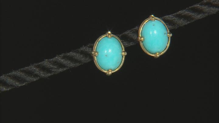 Blue Sleeping Beauty Turqoise 10k Yellow Gold Stud Earrings