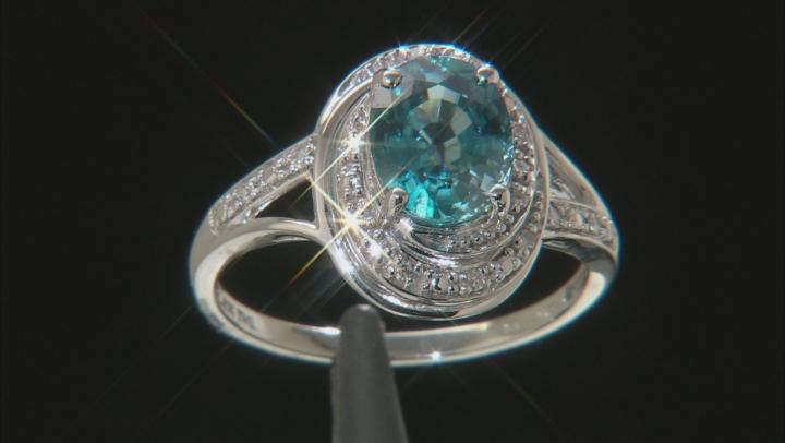 Blue Zircon 10k White Gold Ring 2.55ctw