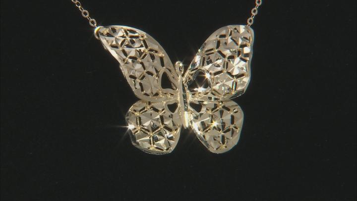 Splendido Oro™ 14k Yellow Gold Diamond Cut Butterfly 18 inch Necklace