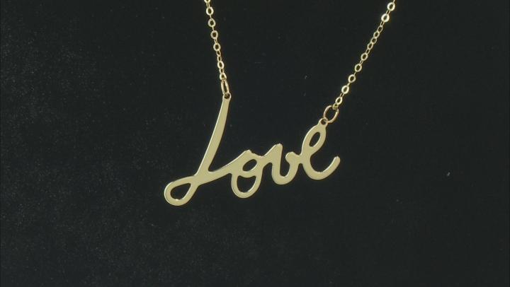 """Splendido Oro™ 14K Yellow Gold """"Love"""" Script 18 Inch Cable Chain Necklace"""