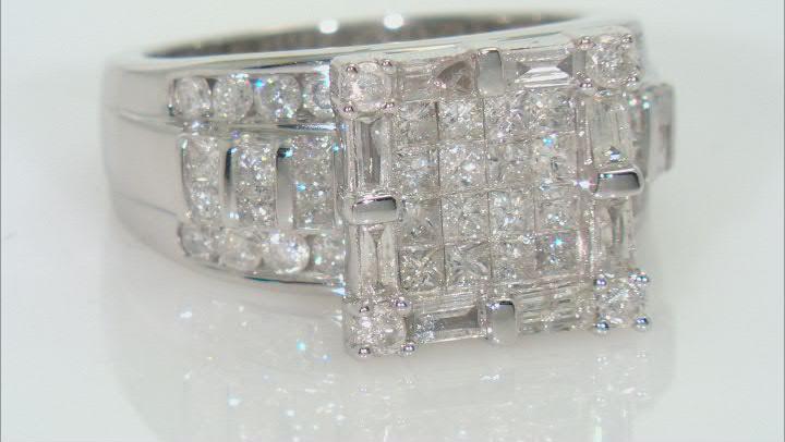 White Diamond 10k White Gold Quad Ring 2.25ctw